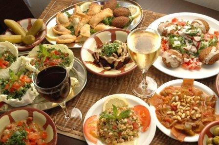 A table full of Lebanese dishes at Dawali