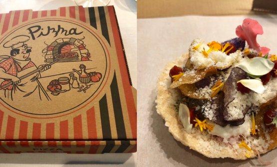 Piatti dall'ultimo percorso omakase del ristorante Tokuyoshi: Pizza delivery
