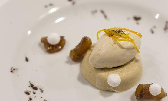 Bavarese di castagne e rum, gelato alla liquirizia e arance caramellate di Lo Basso