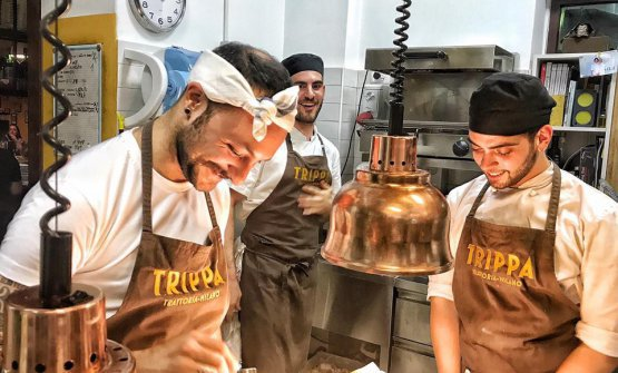 Diego Rossi ai fornelli del suo Trippa