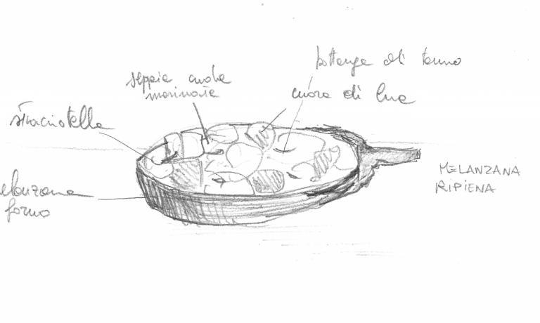 Uno schizzo di una delle ricette che Diego Rossi preparerà per il menu di Trippa