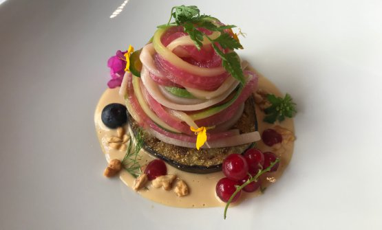 Divertissement:tagliolino integrale colorato, melanzana alla giapponese, fagiolini, salsa di miso bianco e noci, frutti di bosco