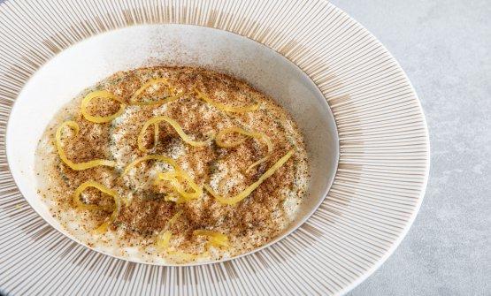 Risotto ai limoni di Amalfi, cannolicchi, vongole veraci, asparago, yogurt di bufala