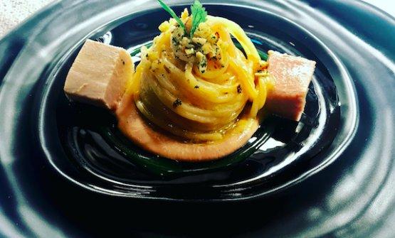 Spaghetti aglio, olio e peperoncino con palamita