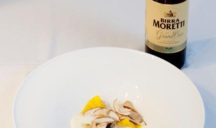 Birra Moretti Grand Cru, in the dish and in the glass