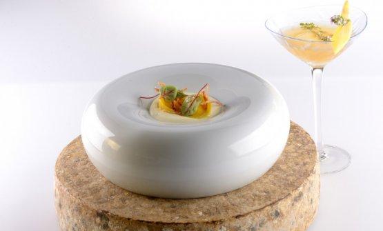 L'abbinamento che ha conquistato l'argento: Tortelli alle Prime Uve, bettelmatt e pancetta ossolana in abbinamento al cocktail Mango Tango, della coppiaBartolucci-Brindisi