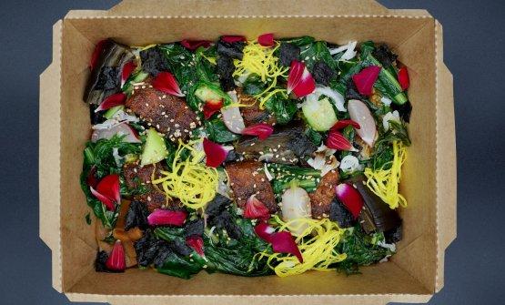 Anguilla Kabayaki Bento(sotto un particolare). Un piatto molto raffinato, elegante, potenzialmente il miglior dei nostri assaggi. Al limite un poco asciutto, riscaldatocome da istruzioni (12 minuti in forno statico a 180°). Le foto dei piatti sono di Tanio Liotta