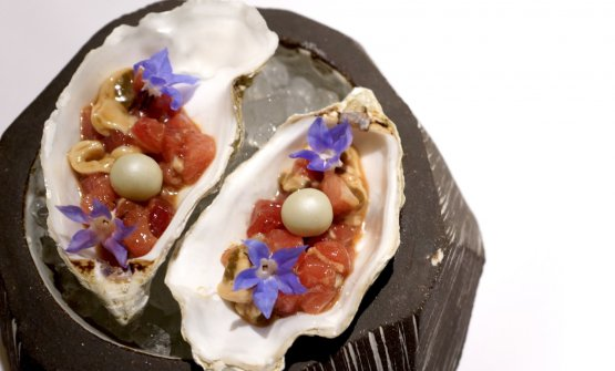 Fantastic Red tuna tartare and oyster, pearls of cucumber and apple, borage (2020)