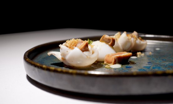 Seppia, foie gras, aglio