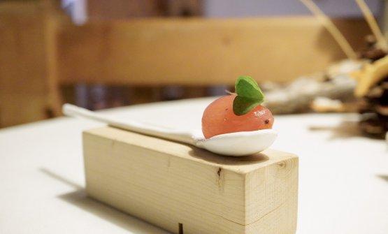 Pomodorini della Piana Rotaliana cotti agli ultrasuoni, acqua di cirmolo e foglia di acetosella