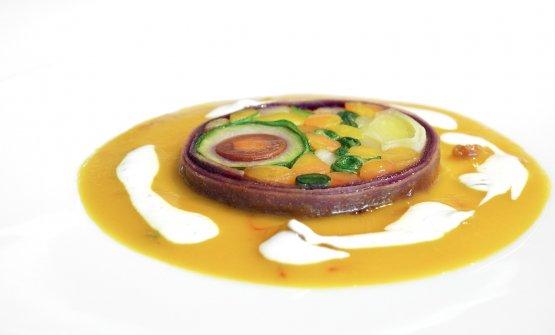 Vegetable tajine, sauce of lassi with cumin and mi