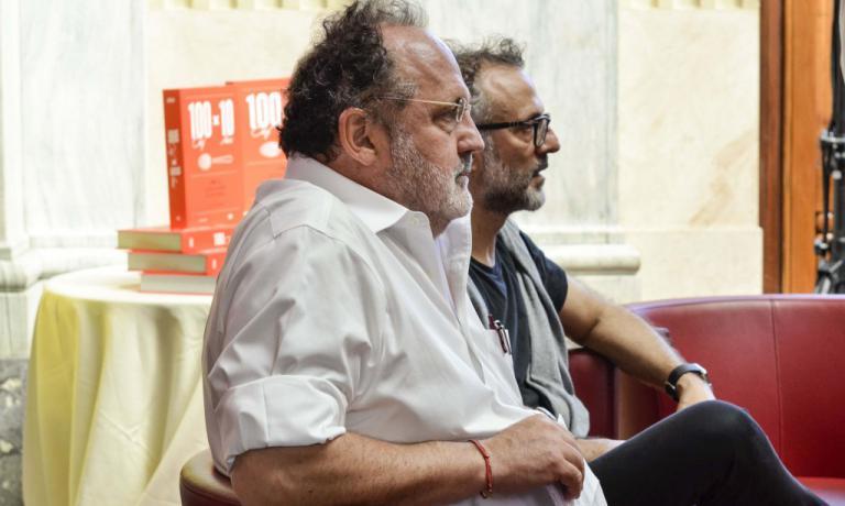 Paolo Marchi e Massimo Bottura alla presentazione di 100 chef x 10 anni