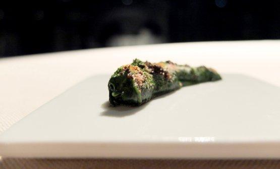 Gambero, stracciatella e spinacino