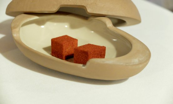 Anchovy and paprika marshmallow