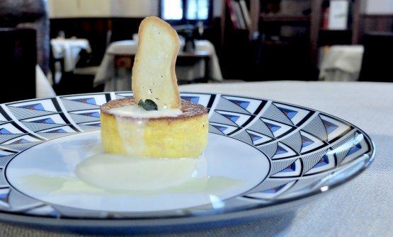 I piatti che abbiamo assaggiato a Al Cambio (tutte le foto sono di Tanio Liotta): qui Sformatino di patate e mortadella, salsa al parmigiano
