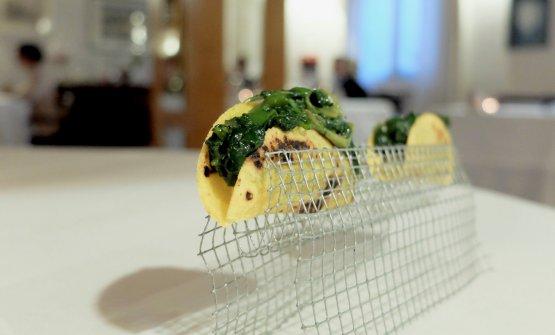 Tacos di polentaottofile ed erbe di campo