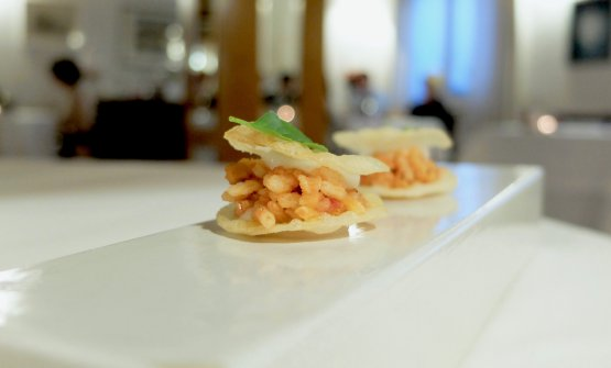 Frascarello croccante con finto ragu di ritagli di salame (il frascarello è la polenta bianca di risodella tradizione contadina marchigiana)