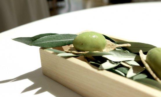 Olive dello chef, con trito e crema di olive