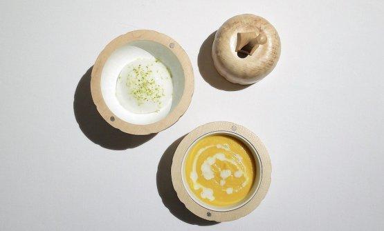 Crema di zucca ed erbe, spuma di bergamotto con pistacchi. Grande piatto, si abbina con...