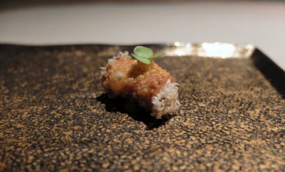 Foie gras e frutta secca, atto secondo: cannolo, foie gras, mandorle e mirtillo rosso