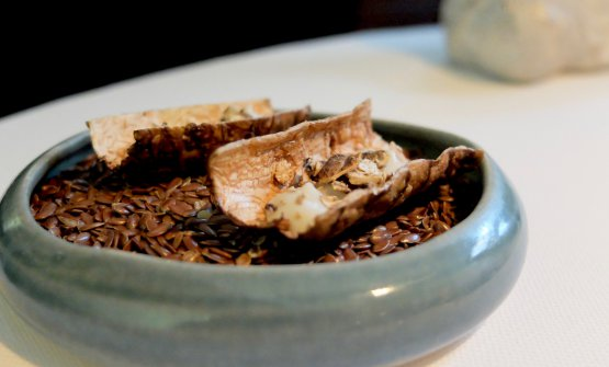 Davvero interessante la Corteccia di topinambur:guscio di topinambur, hummus al sesamoe corteccia croccante