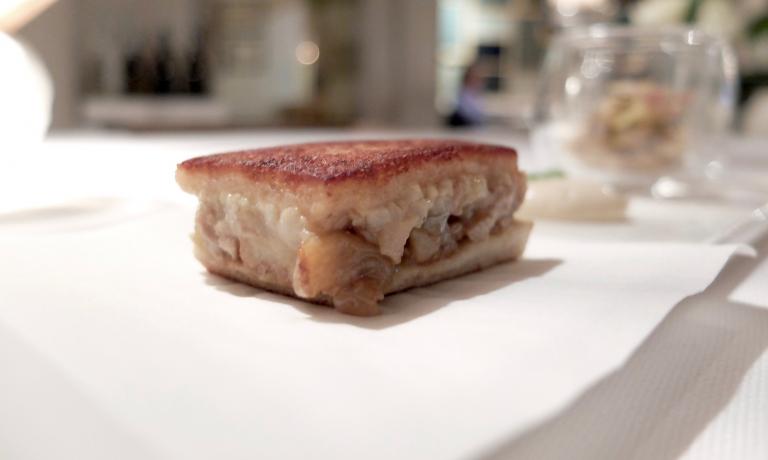 Gran livello anche per il Toast di scampi e faraona, maionese agli agrumi, carciofi all'aneto