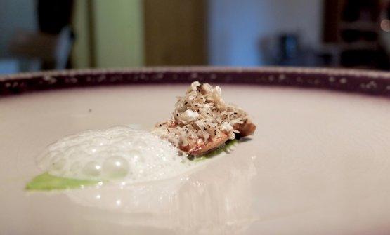 Porcino e guacamole, schiuma di tartufo