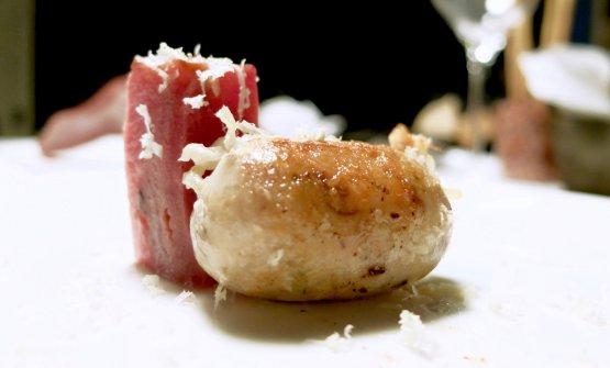Salsiccia di branzino in budello di montone con ra