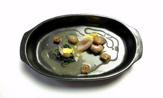Rognoncini di coniglio, tarassaco, anisone, scalogno,scalitì (la crosticina della polenta avanzata)