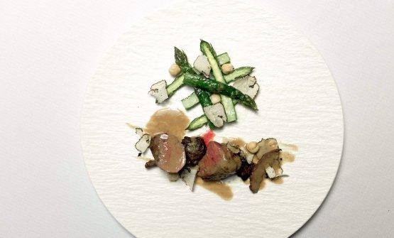 Piccione: coscia, petto e fegato, con asparagi, tratufo e nocciole
