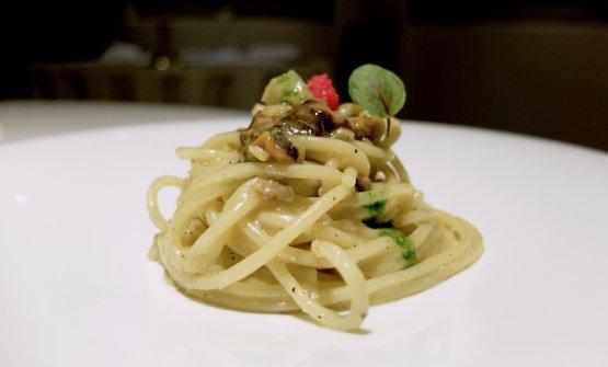 Spaghettone in trafila di bronzo con maruzzielli e scuncigli, anemoni di mare, clorofilla di prezzemolo, uova di pesce volante
