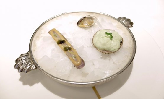 Coquillage. From the top, clockwise: Sea truffles and mousse of jalapeño; Clam from the Pacific Ocean with grenobloise sauce (butter, lemon and capers); Cockle in mignonette sauce (chopped shallot, macerated in wine and red vinegar)