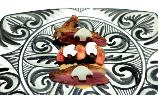 Roasted pigeon, toasted cherries and cherries in brine in cider vinegar