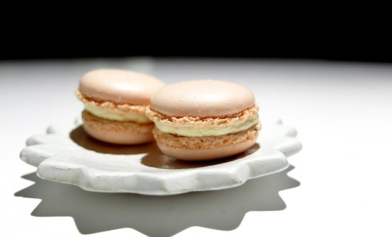 Rose and lemon macaron