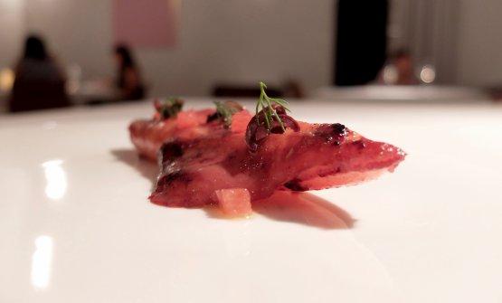 Calamaro arrosto, pompelmo rosa e olive(2017)