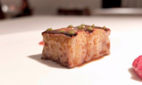 Melanzana arrosto, pomodoro e caramello di pesca(2016)