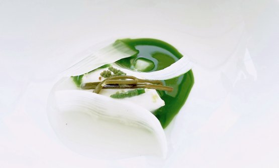 Another masterpiece,Sea and earth asparagus. The broth is made with plankton, there's samphire, and an ice cream of asparagus. Extremely clean, excellent technique