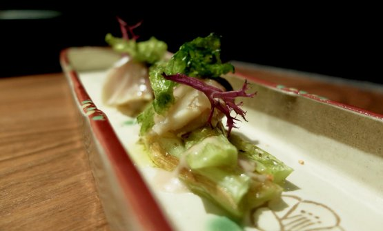Sgombro giapponese, aceto di riso, cipolla lunga di Tropea saltata in salsa di umeboshi, olio evo e polvere di yuzu. Piatto delizioso