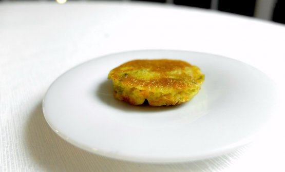 A pancake of courgette flowers