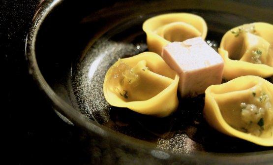 Tortelli al germano reale, con gel di Verduzzo e foie gras