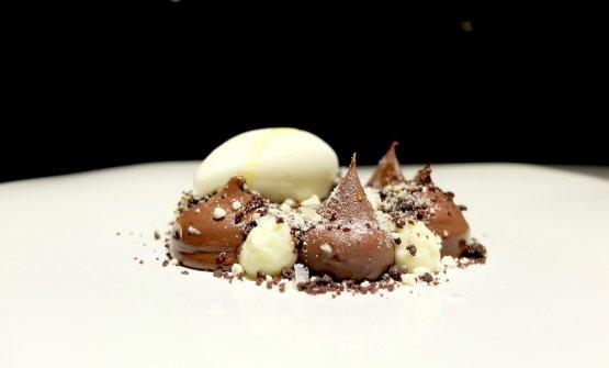 Cremoso di cioccolato 77%, cremoso di caramello, gelato all'extravergine, cremoso di Armagnac, sale e olio