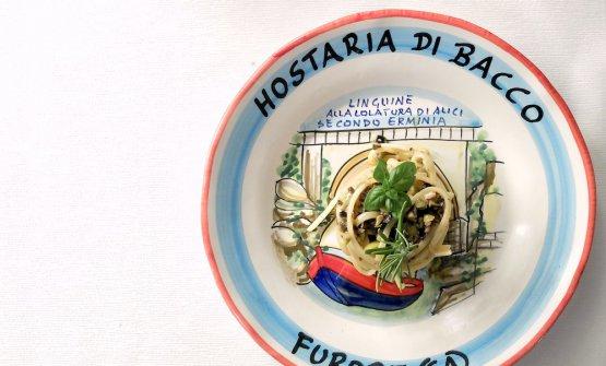 Linguine alla colatura di alici secondo Erminia con colatura tradizionale di alici di Cetara,olive, capperi, pinoli, noci