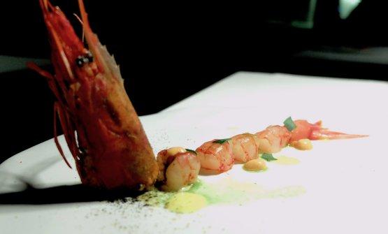 Crudo di gambero, salsa all'arancia, maionese di corallo
