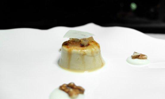 Crème brûlée alla liquirizia, noci, cedro e provolone del Monaco. Un passaggio salato-dolce