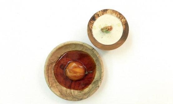 Bufala, pera e noci. Ossia mousse di latte di bufala,pera macerata nello sciroppo di pera ed erbe aromatiche, gelato di pelle di noci con olio evo e sale Maldon. Equilibrio difficilissimo, dessert ambizioso e di gran classe