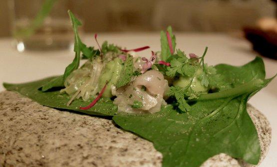 Foglie di spinacio, avocado, pesce gatto, misticanza di stagione. Bellissima idea, fresca, convincente