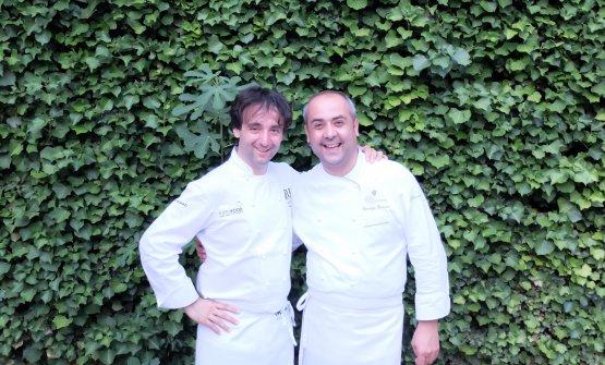Kavčič fotografato a una serata con Vincenzo Guarino, chef deIl Pievano al Castello di Spaltenna