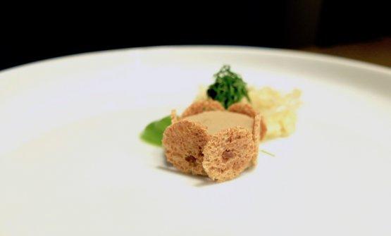 Molto raffinatii Crauti con fegatini di pollo, olive candite e crema di coriandolo