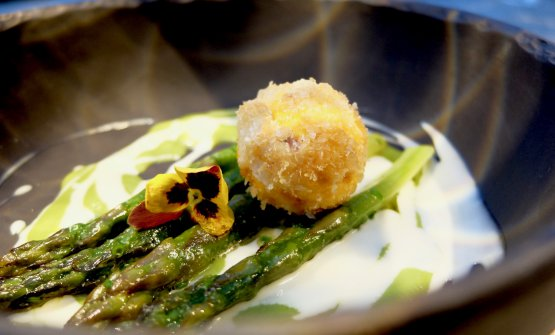 Uovo gourmet: tuorlo fritto in panure dorata, asparagi cotti a bassa temperatura, la loro crema su fonduta di parmigiano