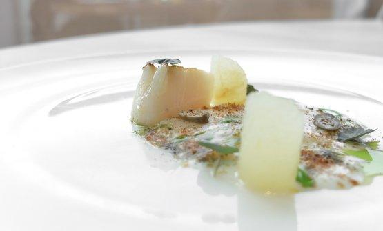 Capasanta in bianco, seconda parte: sfoglia del mollusco con il suo corallo, pere,infuso di peree basilico, capperi. Piatto dall'equilibrio gustativo imperfetto